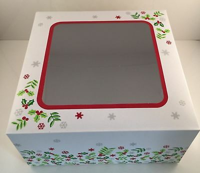"2 x 10"" inch CHRISTMAS CAKE BOXES FESTIVE SQUARE clear Window HOLLY DESIGN"