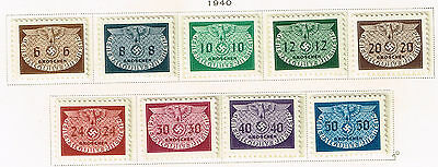 Germany WW2 General Government Third Reich Symbols 9 stamps set 1940 MLH