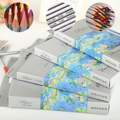 24/36/48/72Pcs Soft Core Art Colored Pencils Wooden Wax Based Drawing Supply 2B