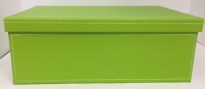 WHOLESALE Lime Green lined gift box with lid & white stiching 10 x 61/2 x 31/4.