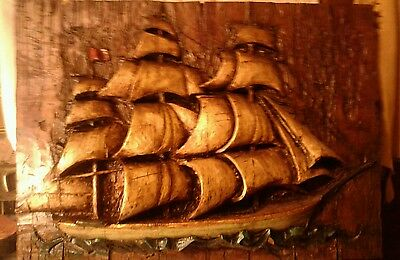Spanish Ship 3D Wall Sculpture- 1967 Vanguard Studios Vanathane ocean decor