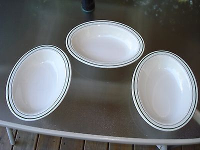 1960s Buffalo China restaurant ware,oval  serving dishes Green Stripe