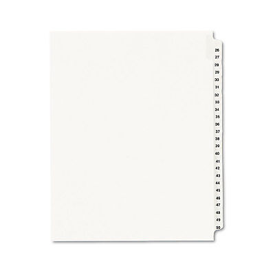Avery-Style Legal Exhibit Side Tab Divider Title: 26-50 Letter White 01331