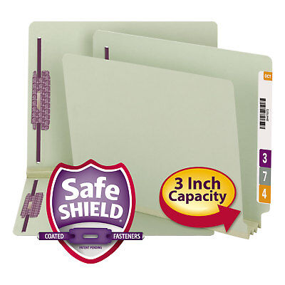 Smead Three Inch Expansion Folder Two Fasteners End Tab Letter Gray Green 25/Box