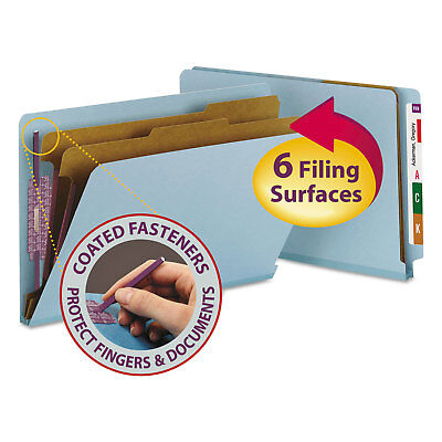 Smead Pressboard End Tab Classification Folders Legal Six-Section Blue 10/Box