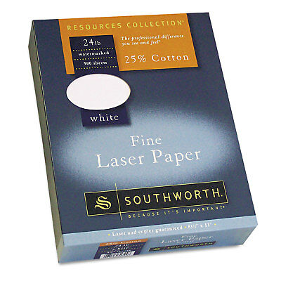 Southworth 25% Cotton Laser Paper White 24 lbs. Smooth Finish 8-1/2 x 11  500