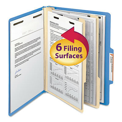 Smead Top Tab Classification Folder Two Dividers Six-Sections Letter Blue 10/Box