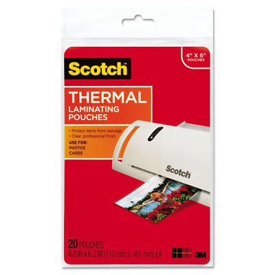 Scotch Photo Size Thermal Laminating Pouches 5 mil 6 x 4 20/Pack TP590020