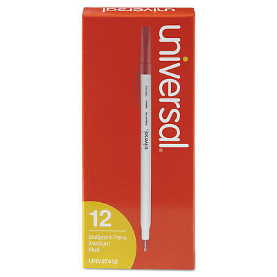 UNIVERSAL Economy Ballpoint Stick Oil-Based Pen Red Ink Medium Dozen 27412