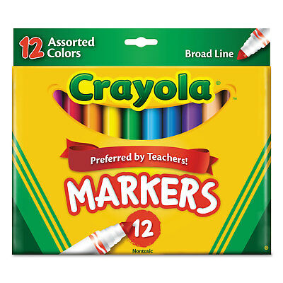 Crayola Non-Washable Markers Broad Point Assorted Colors 12/Set 587712