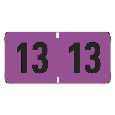 Smead Jeter-Compatible Year 2013 Labels 3/4 x 1-1/2 Purple/Black 500/Roll 68313