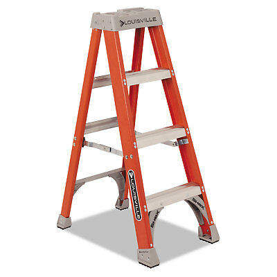 "Louisville Fiberglass Heavy Duty Step Ladder 50"" 3-Step Orange FS1504"