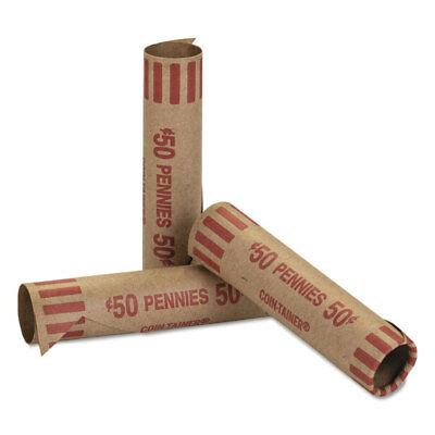 Coin-Tainer Preformed Tubular Coin Wrappers Pennies $.50 1000 Wrappers/Box 20001