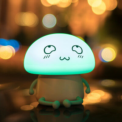 LuxLumi Emoji Mushroom Silicone Rechargeable or Battery LED Touch Night Light