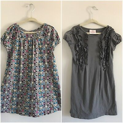 Hanna Andersson Lot Of 2 Dresses 110 & 120 Gray Floral Cotton Soft Short Sleeve