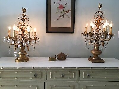 "Antique 75 crystal brass 28"" PAIR gold table lamps vintage chandelier candelabra"