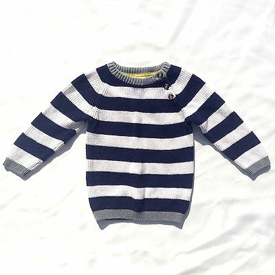 H & M Boys Sweater White and Blue Stripes Infant Sz 9-12 Months