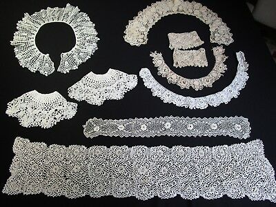Lot Of 10 Pc Hand Made Antique Irish Crochet Lace Collars and Cuffs