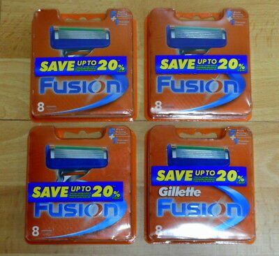 New Value Pack Gillette Fusion Razor 4 Packs of 8 Cartridges (32 Blades)RRP$160