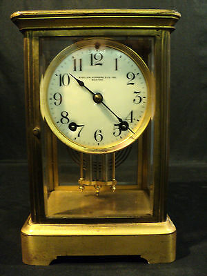 ANSONIA BRASS CRYSTAL REGULATOR CLOCK, DOUBLE BARREL PENDULUM, c. 1900