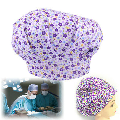 Doctor Nurse Flowers Printing Scrub Cap Bouffant Medical  Surgical Surgery Hat