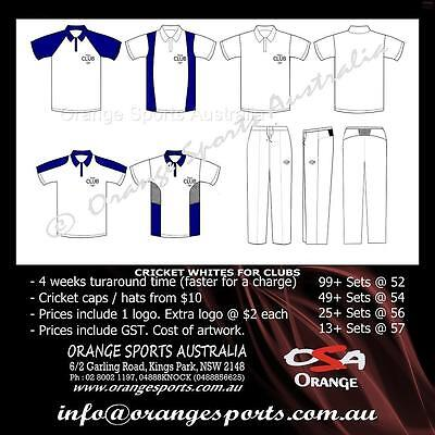 13 Sets Of Custom Cricket White Pants and Shirts with your Club Logo. 4 weeks