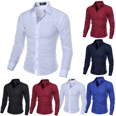 Men's Casual Shirts Slim Fit Luxury Long Sleeve Stylish Dress Shirts Solid Tops