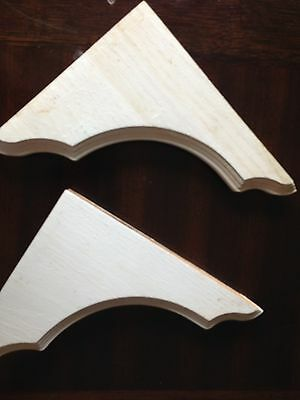 Pair Of  Milled Solid Wood White Shelf Brackets / Corbels. Very Shabby Chic