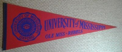 Vintage University of Mississippi Rebels NCAA full size pennant Ole Miss