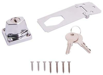 ProSource 807355-BC3L-PS Keyed Safety Hasp, 3-1/2 in L, Steel, Chrome Plated