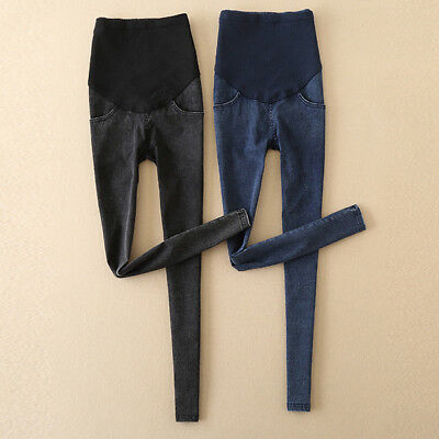 Women Capris Maternity Jeans Trousers Pregnancy Pants Skinny Over Bump Clothes