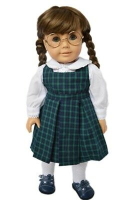 """Doll Clothes 18"""" Dress Plaid Navy Green Blouse White Fits American Girl Dolls"""
