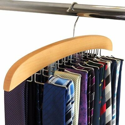 24 Hooks Hardwood Belt Tie Rack Clothing Accessory Hanger Belt Organizer Hangers