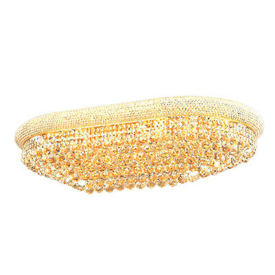 Empire Ellipse Gold Crystal Ceiling Light  Lustre Large Crystal Ceiling Lamps