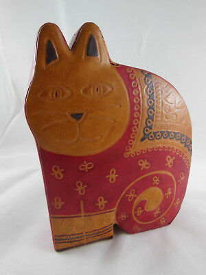 """Laurel Burch Leather Cat Kitten Bank 5"""" X 6.5"""" Red and Tan"""