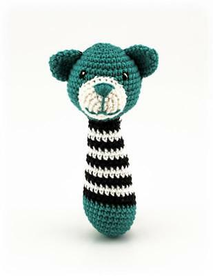 Alex Bear Rattle - Teal and Black Handmade baby Rattle