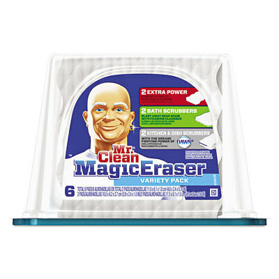 "Mr. Clean Magic Eraser Foam Pad 2 2/5"" x 4 3/5"" Variety Pack White/Blue 6/Pack"