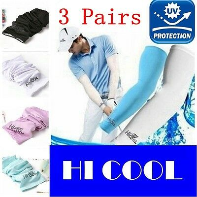 3 Pairs Cooling Sports Arms Sleeves Sun UV Protection Covers Golf Cycling New
