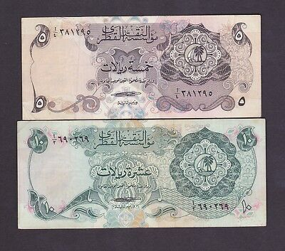 Qatar 5 , 10  riyal 1973 MONETARY AGENCY 1st. issue Pick#2a-3a XF
