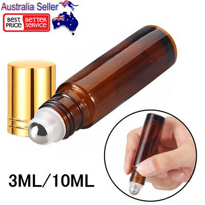 Refillable Amber Glass Bottle Metal Roller Essential Oil Aromatherapy Containers