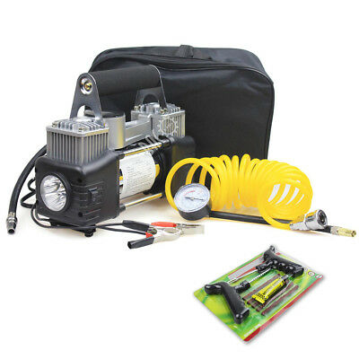 12V DC Double Cylinder Tire Inflater Air Compressor Pump with Light&150PSI Gauge