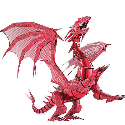 Red 3D Puzzle Dragon Laser Cut Model Jigsaw FLAME Metal Puzzle Scale Model Kit