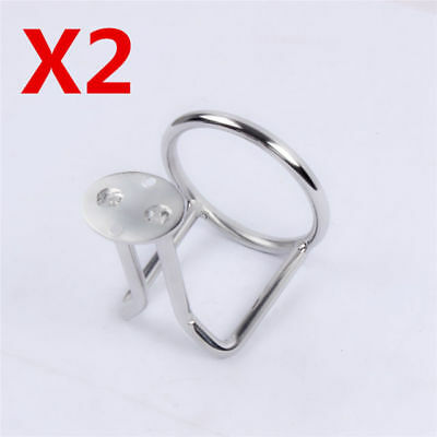 set of 2 Boat Stainless Steel Ring Cup Drink Holder Polished for Marine Yacht RV