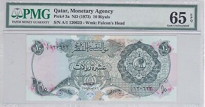 Qatar 10 riyal 1973 monetary agency prefix A/1 1st. issue P#3a UNC 65 EPQ