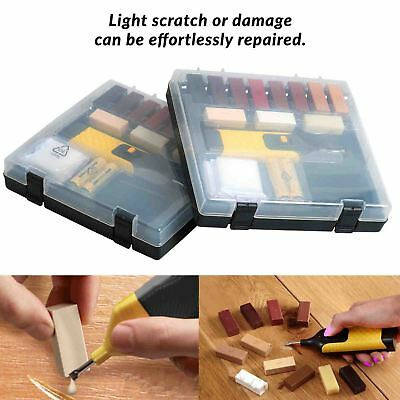 19 Pc Wooden Laminate Floor Worktop Repair Kit For Chips & Scratches Wax System