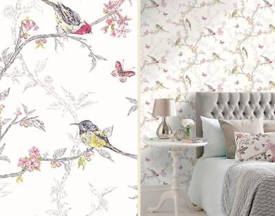 Floral Butterfly Wallpaper White Colourful Multi Color Birds Trees Holden Decor