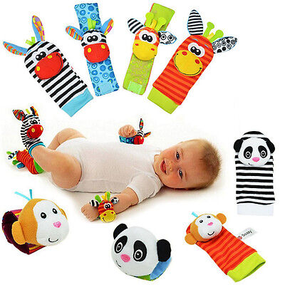 1 Pair Baby Infant Wrist Strap Rattles Foots Socks Developmental Soft Toys Sozzy