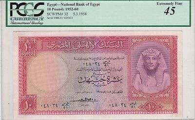 Egypt 10 pounds 1958 NATIONAL BANK SERIAL 048034 REFAY SIGN. pick#32 XF 45