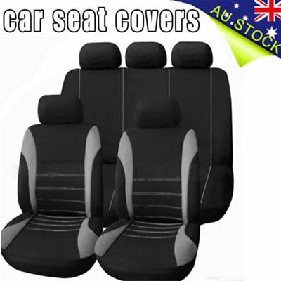 Universal 1 Set Car Seat Cover For Front/Rear Seat Headrest Black Gray AUS