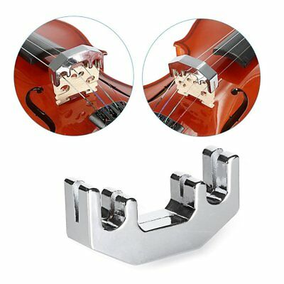 Mute Metal Muffler Silver Fiddle Silent Silencer Tuner For Practicing Violin IF
